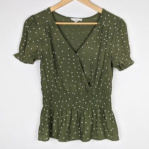 MINE Olive Green White Polka Dot Peplum Top
